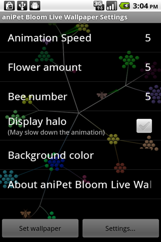 aniPet Bloom screen
